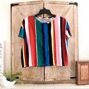 ZARA Painted Stripes T Shirt
